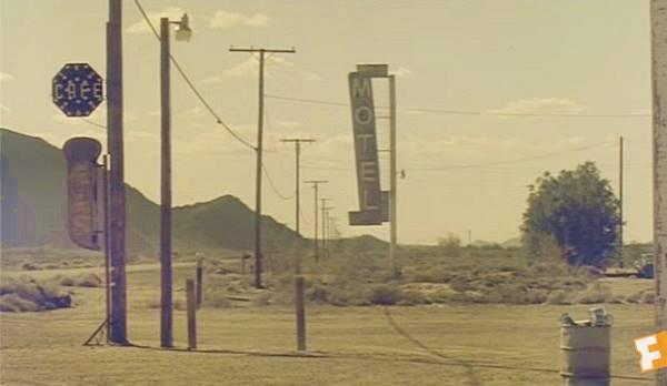The Henning Motel sign in a still from the opening scenes of the film Bagdad Cafe