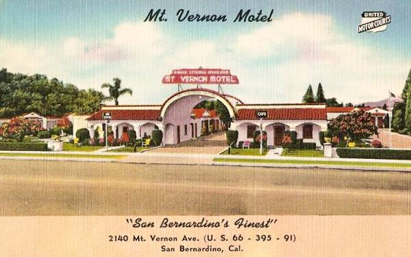 the Mount Vernon Motel on Route 66 in San Bernardino, California