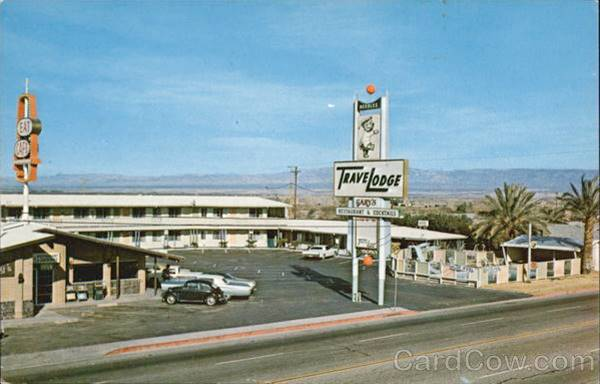 Old postcard showing the Travelodge Motel in Needles, Route 66, California