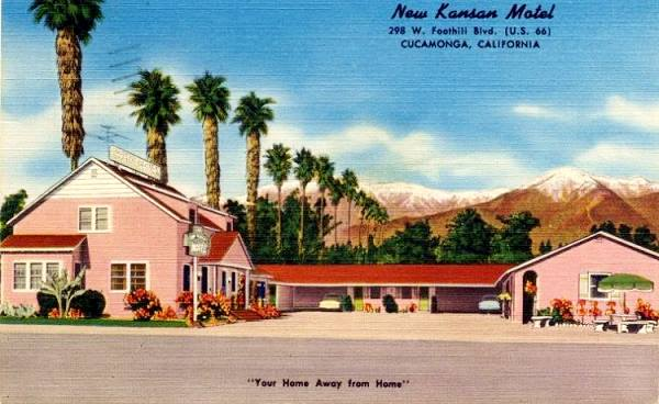 vintage postcard of the New Kansan on Route 66 in Rancho Cucamonga, California