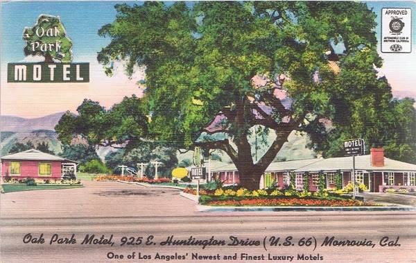 vintage postcard of the Oak Park Motel on Route 66 in Monrovia, California