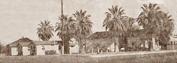 Palms Motel in a 1930s photo, Needles, Route 66, California