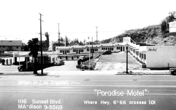 Antique postcard view of The Paradise Motel