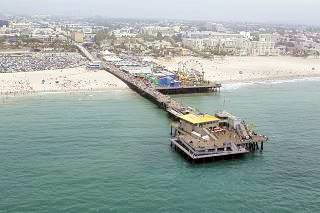Aerial view of Santa Monica Pier, Santa Monica, California