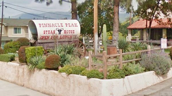 Pinnacle Peak steakhouse in San Dimas, with its covered wagon