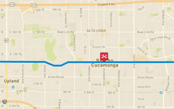 Map of US 66 in Rancho Cucamonga AZ