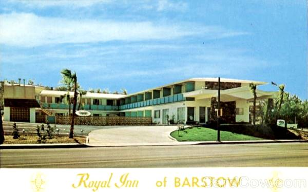 Old postcard showing the Royal Inn on Route 66 in Barstow, California