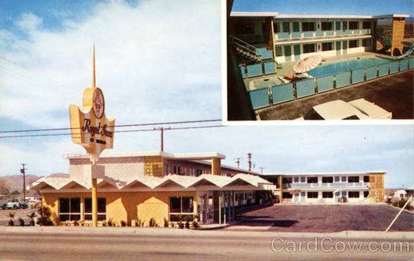Old postcard showing the Royal Inn Motel in Needles, Route 66, CA