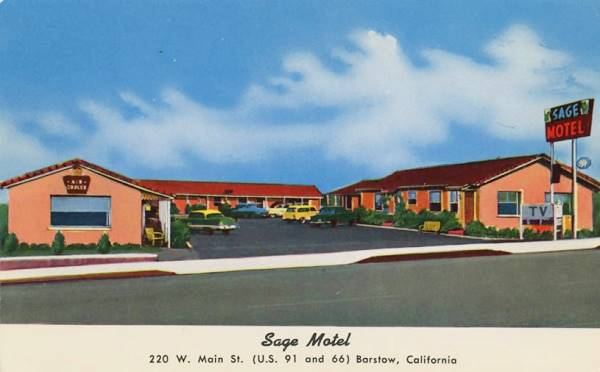 Old 1940s postcard showing the Sage Motel on Route 66 in Barstow, California