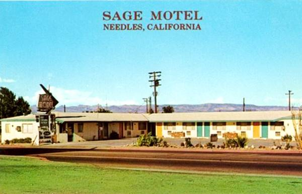 Old postcard showing the Sage Motel in Needles, Route 66, California
