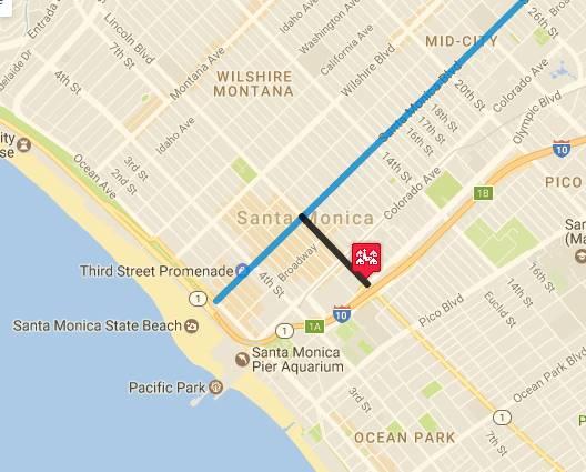 Map of US 66 in Santa Monica AZ