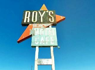 The sign at Roy's Motel Cafe in Amboy