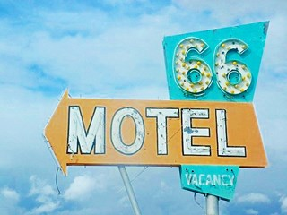 Classic Route 66 Motel sign in Needles, Route 66, California