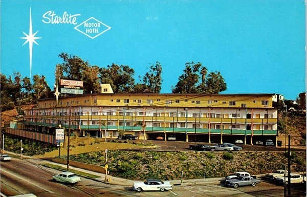 Antique postcard view of The Starlite Motor Hotel