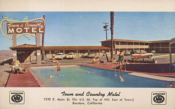 Old postcard showing the Town and Country Motel on Route 66 in Barstow