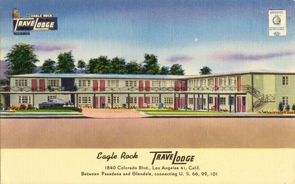 Antique postcard view of the Travelodge at Eagle Rock now the Welcome Inn