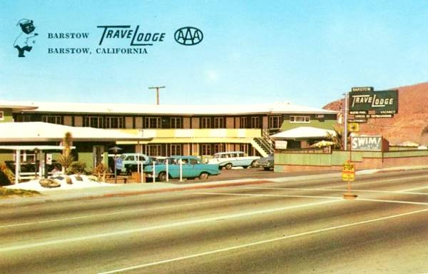 Old postcard showing the Travelodge on Route 66 in Barstow, California