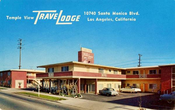 Antique postcard view of the Temple View Travelodge Motel