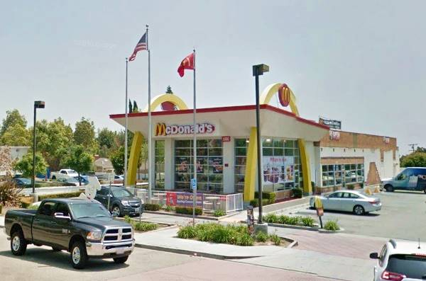 present appearance of the McDonald's with the Golden Arches in Upland