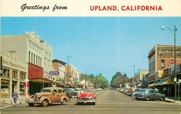 vintage 1950s view of downtown Upland, California