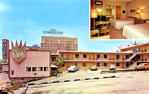 Antique postcard view of The Motel de Ville