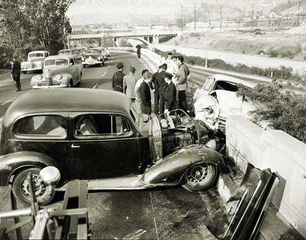 Antique photo of an accident on Arroyo Seco Parkway