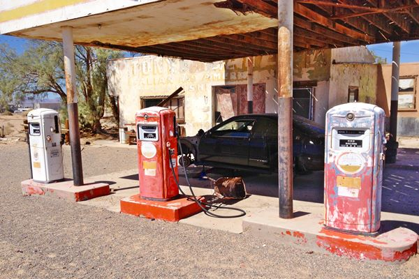 three old 1990s gas pumps at the Whiting gas station in Newberry Spring