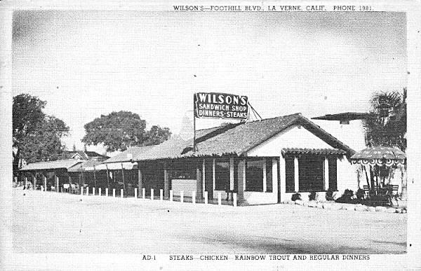 the Wilson's Sandwich Shop on Route 66 in La Verne, California