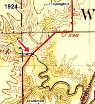 1924 USGS map of Lick Creek in Chatham US66