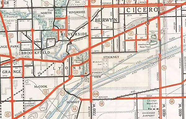 1934 map of Route 66 in Chicagoland