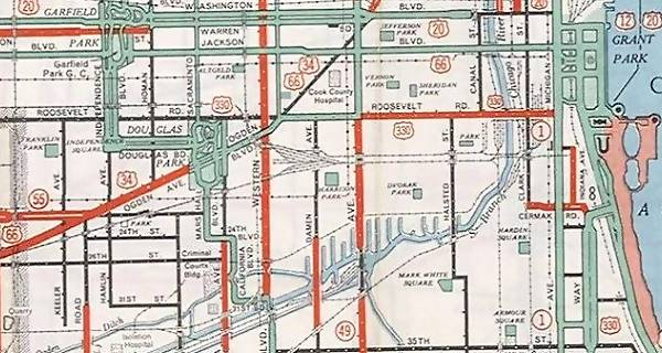 1934 map of Route 66 in Chicago