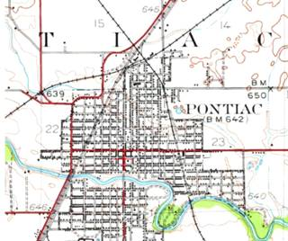 Map from 1935 of Pontiac by the USGS