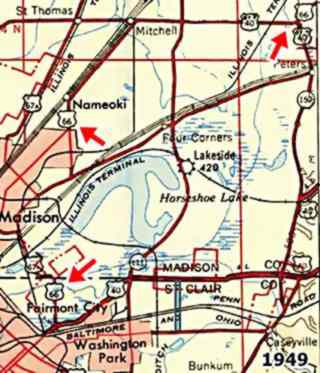 USGS map of 1949 with US 66 from Edwardsville to E. St.Louis