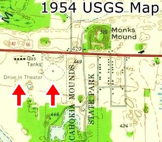 Former Drive In Theater in 1954 USGS Map in Collinsville US66