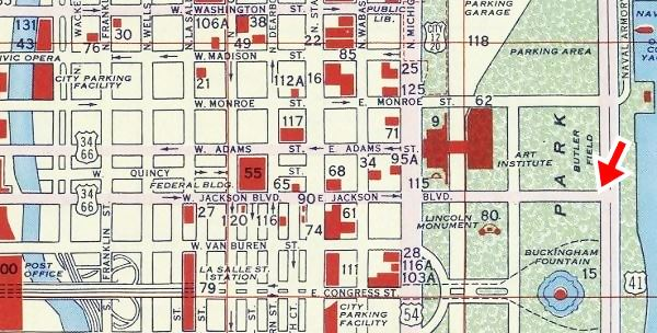 1956 Shell Oil map of Downtown Chicago Route 66