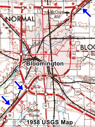 USGS map of 1958 of Bloomington