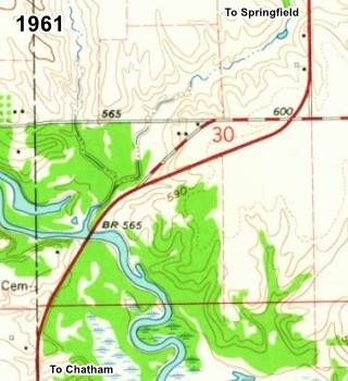 1961 USGS map of Lick Creek in Chatham US66