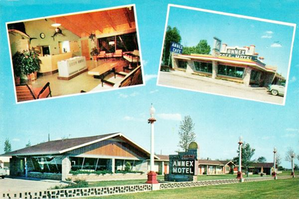 The Annex Motel and Cafe vintage postcard in Litchfield Route 66