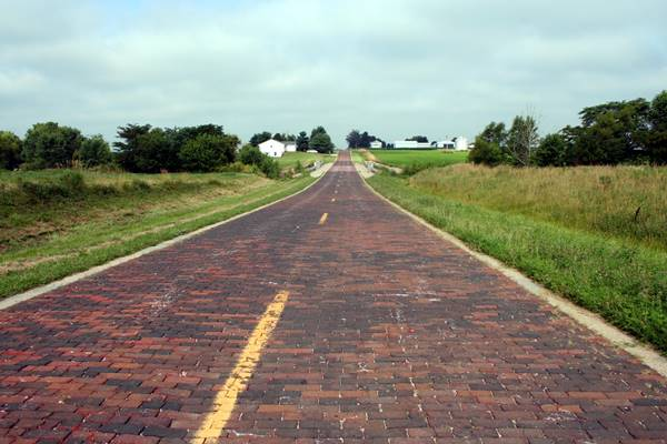 Hand-laid brick road in Auburn Route 66