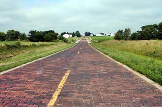 Hand-laid brick road in Auburn Route 66