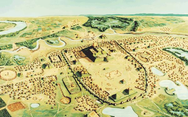 artistic reconstruction of the site, from the air