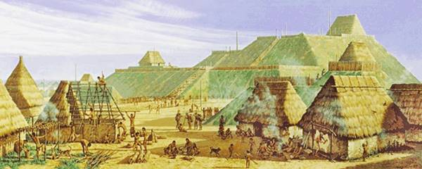 artistic reconstruction of the site: huts, mounds, people