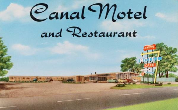 Vintage postcard Canal Motel in Mitchell Route 66