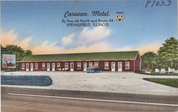 Caravan Motel vintage postcard in Springfield Route 66