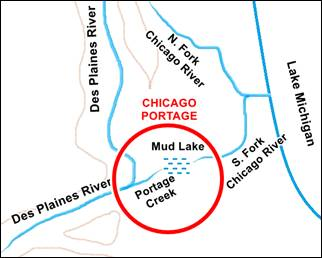Chicago Portage map in Lyons US66
