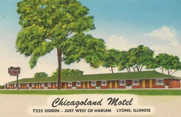 Chicagoland Motel 1930s postcard in Lyons Route 66
