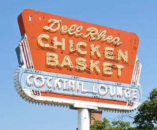 The Neon Sign of Dell Rhea's Chicken Basket in Willowbrook Route 66