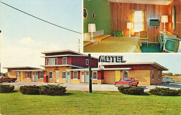 Da-Jo Motel postcard 1950s in Pontiac Route 66