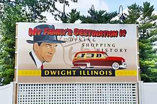 Billboard that welcomes you to Dwight US66