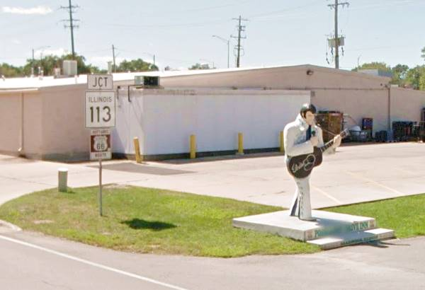 Elvis life-size statue at the Polk-A-Dot in Braidwood Route 66